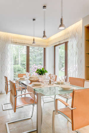 voguish: Vertical view of extravagant dinette prepared for a meal