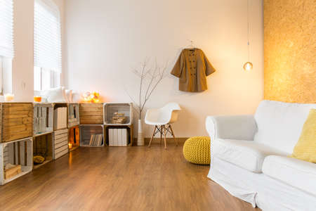APARTMENT LIVING: Spacious living room with wooden floor and comfortable white couch. Next to it wooden shelves with decorations.
