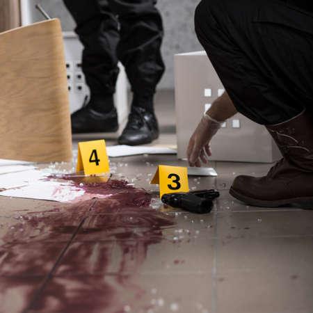 Er is geen lichaam gevonden op de plaats delict Stockfoto