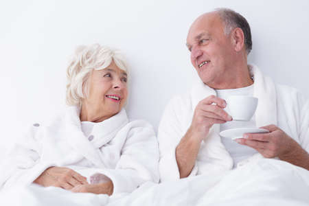 man and woman sex: Horizontal view of sexuality in older age