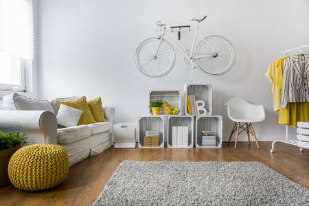 bright: Modern living room with sofa, carpet, wood panels and bike hanging on wall