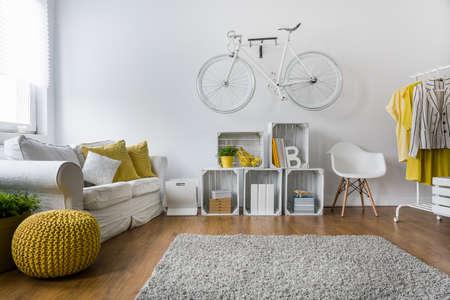 leuchtend: Modernes Wohnzimmer mit Sofa, Teppich, Holzplatten und Fahrrad an der Wand hängen