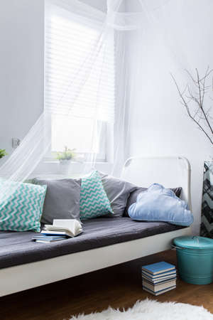 room decor: Comfortable bed with baldachin and decorative pillows in light interior