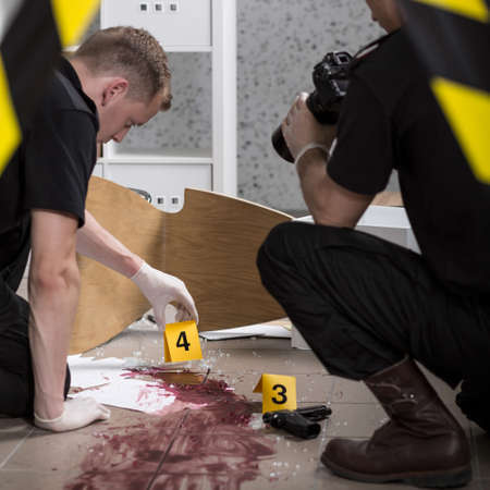 criminal investigation: Young police officers during crime scene investigation Stock Photo