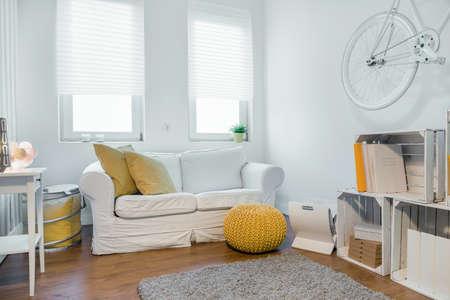 Stock Photo   Student Living Room With Sofa, Wood Handmade Shelf And Bike  Hanging On Wall