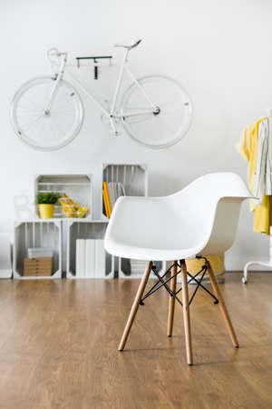 APARTMENT LIVING: White standing on wooden floor in light room
