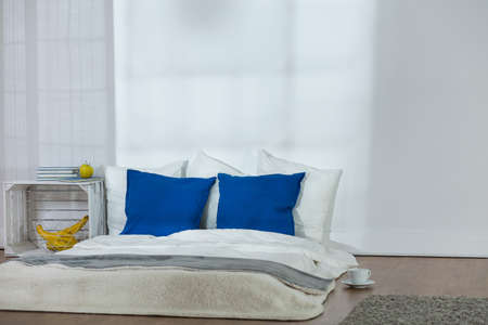 ascetic: Simple, ascetic bedroom in light colors