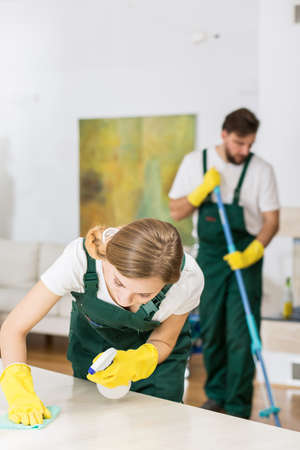 work from home: Man and woman from cleaning service during work in private home