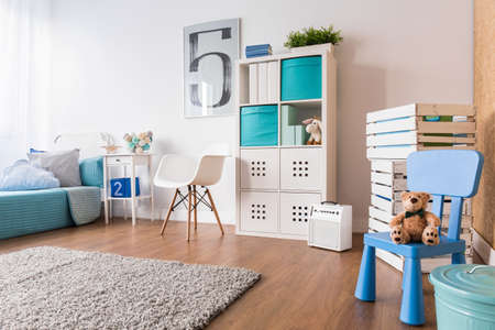 carpet and flooring: Spacious interior for child with flooring, carpet and new furniture