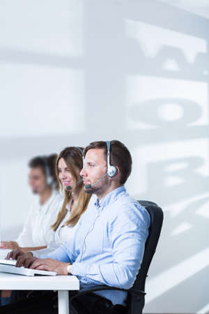 telephone saleswoman: Picture of young people and career in telemarketing service Stock Photo