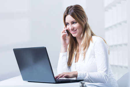 telemarketing: Photo of professional woman working in telemarketing service Stock Photo