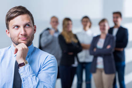 telephone saleswoman: Photo of handsome man and career in business corporation Stock Photo