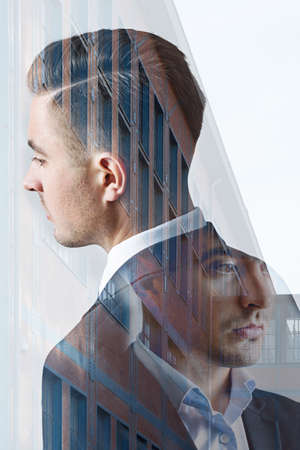 multiple exposure: Multiple exposure of front and back of young businessman