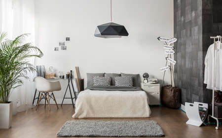 contemporary interior: Interior of white and gray cozy bedroom