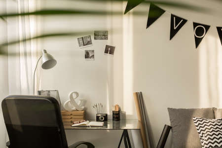 work from home: Space for work in stylish home office Stock Photo