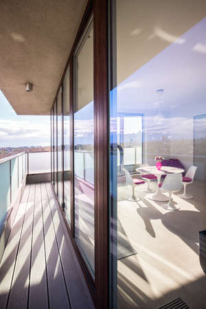 balcony design: Big and modern windows in the flat