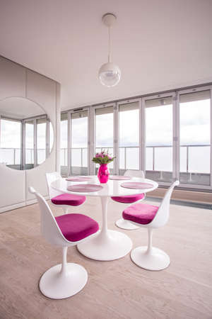 tasteful: Pink and tasteful decorations in the modern flat Stock Photo