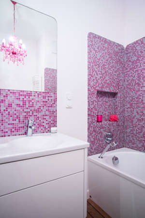 handbasin: Pink and clean bathroom in the flat