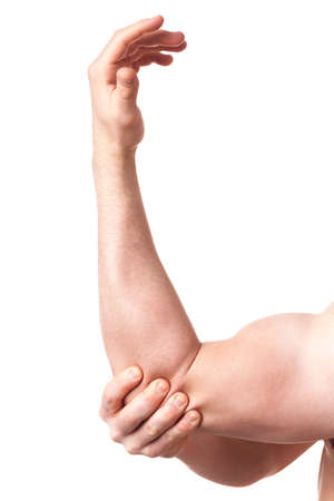 sprained joint: Elbow joint pain - closeup of arm on white background Stock Photo