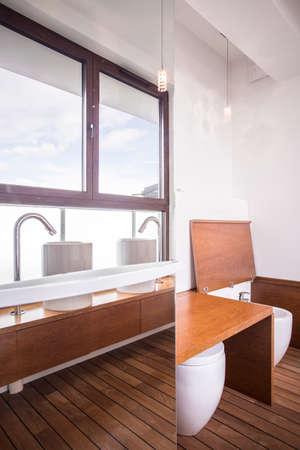 handbasin: Beautiful and tasteful bathroom in the flat Stock Photo