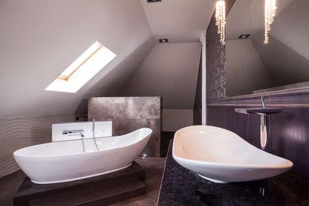basin: Luxurious elegant shiny bathroom with marble and stone Stock Photo