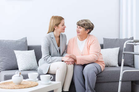 grandmother grandchild: Picture presenting friendship between grandmother and granddaughter Stock Photo