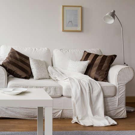white sofa: Modern style living room with white sofa Stock Photo