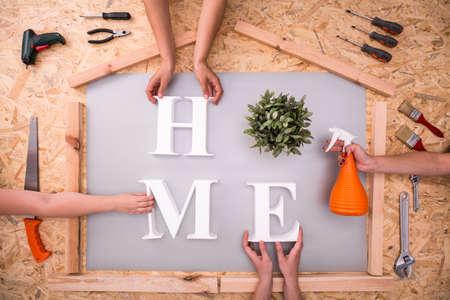 hardboard: Picture of creating home word on hardboard