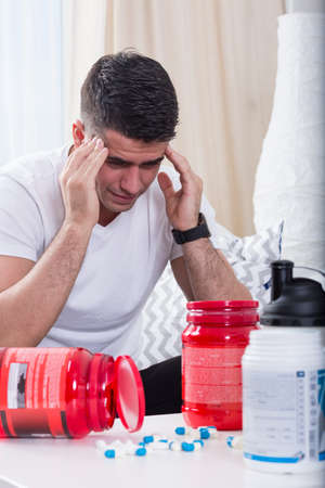 steroids: Image of sport man addicted to steroids Stock Photo