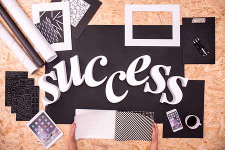 slogan: White success word as new business slogan