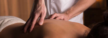 regeneration: Panorama of female during physiotherapy for spine regeneration
