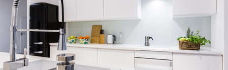 tap room: Panorama of kitchen sink with stylish silver tap