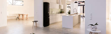 contemporary kitchen: Panorama of contemporary design light kitchen with stylish furniture