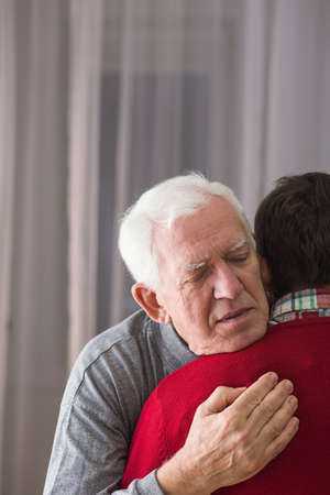 bye: Father saying last good bye to son Stock Photo