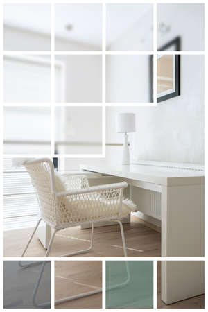 white interior: White desk and chair in study room Stock Photo