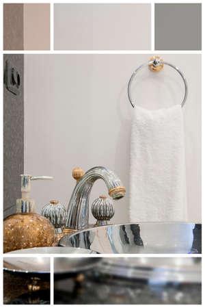 handbasin: Washbasin with silver faucet in exclusive bathroom