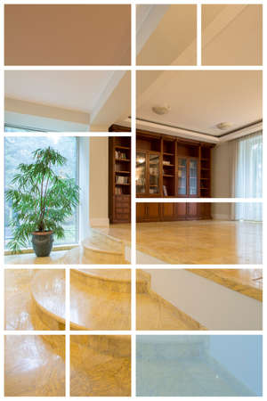 the residence: Picture of spacious hall in luxury residence Stock Photo