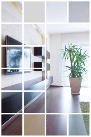 modern living room: Luxury living room in modern design - collage