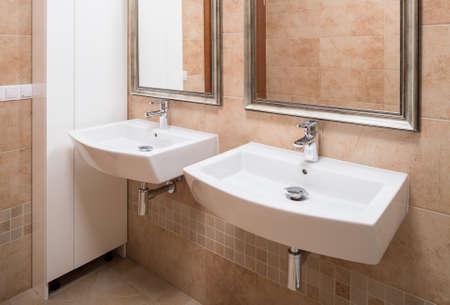 basins: Elegant wash basins in stylish marble bathroom