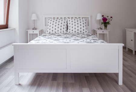 bedroom furniture: Elegant minimalistic bedroom with stylish white furniture