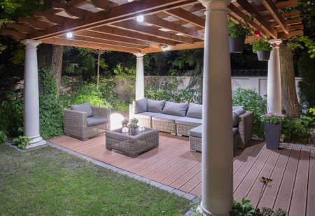 summerhouse: Stylish modern luxurious arbour in the evening Stock Photo