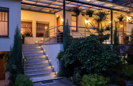lighted: Elegant contemporary house with big lighted terrace