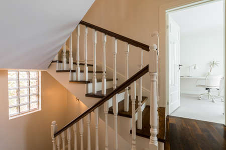 elegant staircase: Elegant and light staircase in the house Stock Photo
