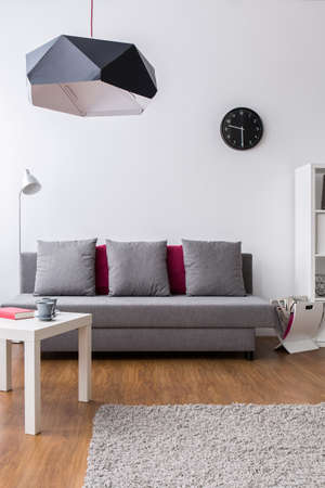 lamp shade: New interior with large sofa, small table and black pendant lamp shade.