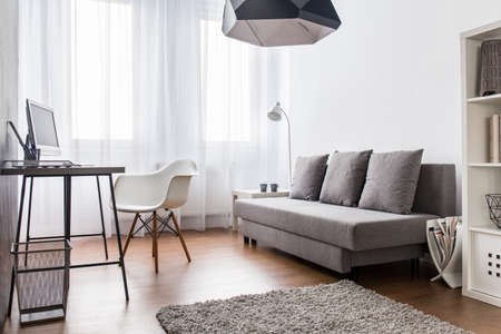 carpet and flooring: Modern, light living room and home office combined. Spacious interior with flooring and small carpet.