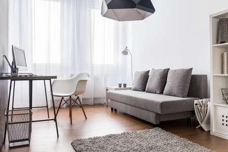 Modernes, helles Wohnzimmer und Heimbüro kombiniert. Geräumiges Interieur mit Bodenbelag und kleinem Teppich.