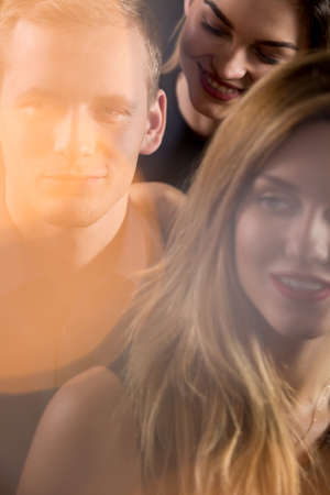 man women: Image of love triangle concept between women and man Stock Photo