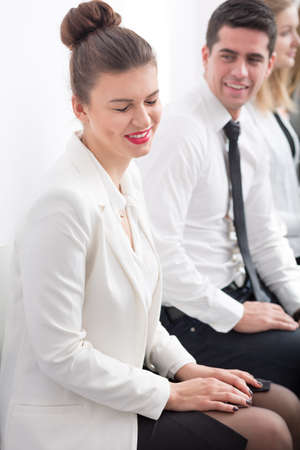 ambitious: Picture of ambitious woman before job interview in corporation Stock Photo