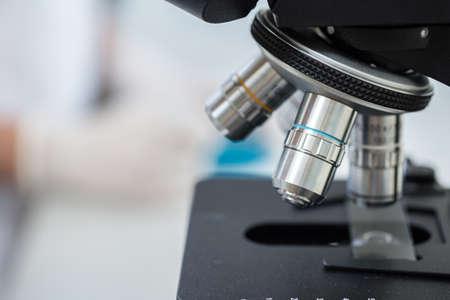 Close up of professional laboratory microscope.