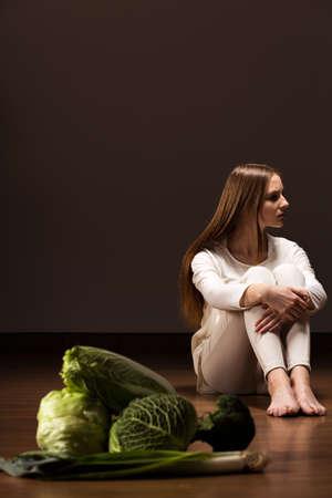 diet dinner: Teenage girl on diet missing healthy dinner